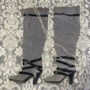 Over the knee grey suede Colin Stuart boots